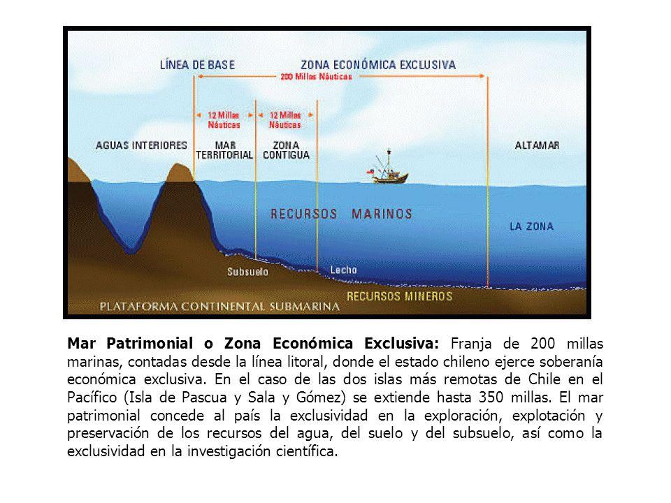 Mar Presencial: Es el área de alta mar comprendida entre la zona económica exclusiva continental y el meridiano correspondiente al borde occidental de la plataforma continental de isla de Pascua, que se prolonga entre el paralelo que pasa por el hito N° 1 (Arica) y el polo Sur.