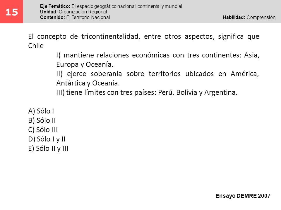 Al abordar este ítem, el postulante debe comprender el significado y las implicancias del concepto de tricontinentalidad, asociados a la extensión territorial de Chile.