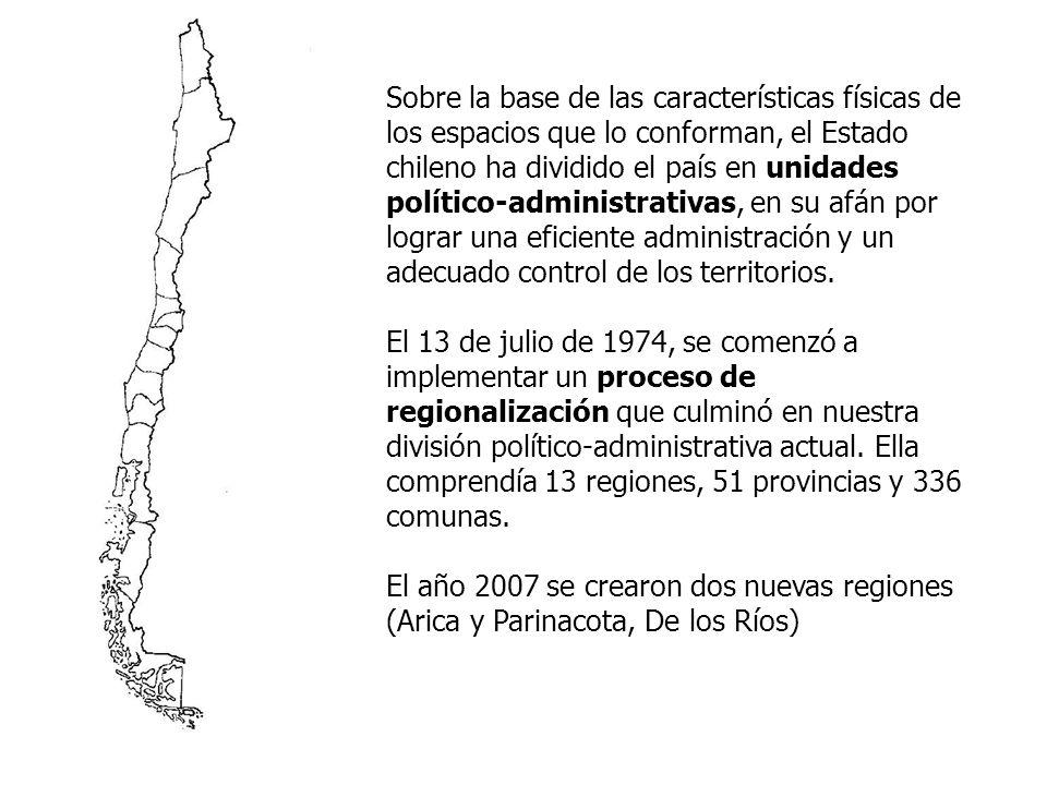 Región: se define como la unidad territorial mayor, con características geográficas relativamente semejantes.