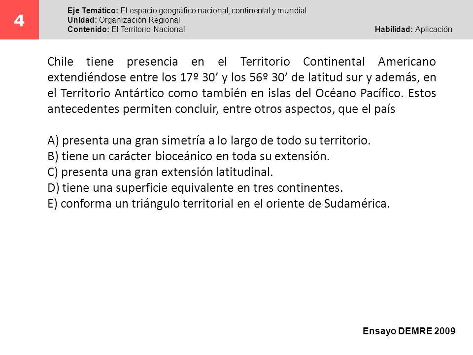 El postulante al abordar este ítem, junto con reconocer la extensión territorial de Chile tanto en su sentido norte-sur, como por la presencia nacional en otros territorios, debe señalar una de las características de la localización del país.