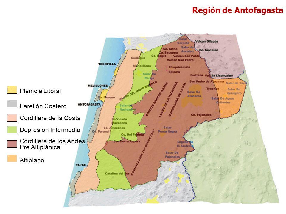 Farellón Costero Cordillera de la Costa Depresión Intermedia Cordillera de los Andes Pre Altiplánica Altiplano Planicie Litoral Región de Antofagasta