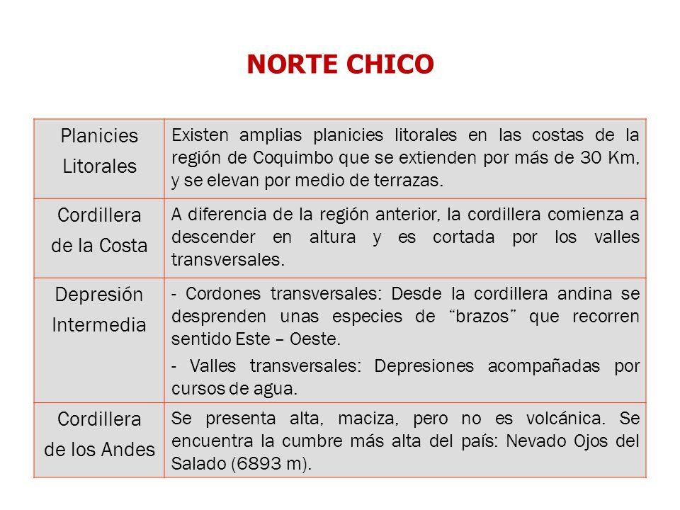 NORTE CHICO Planicies Litorales Existen amplias planicies litorales en las costas de la región de Coquimbo que se extienden por más de 30 Km, y se ele