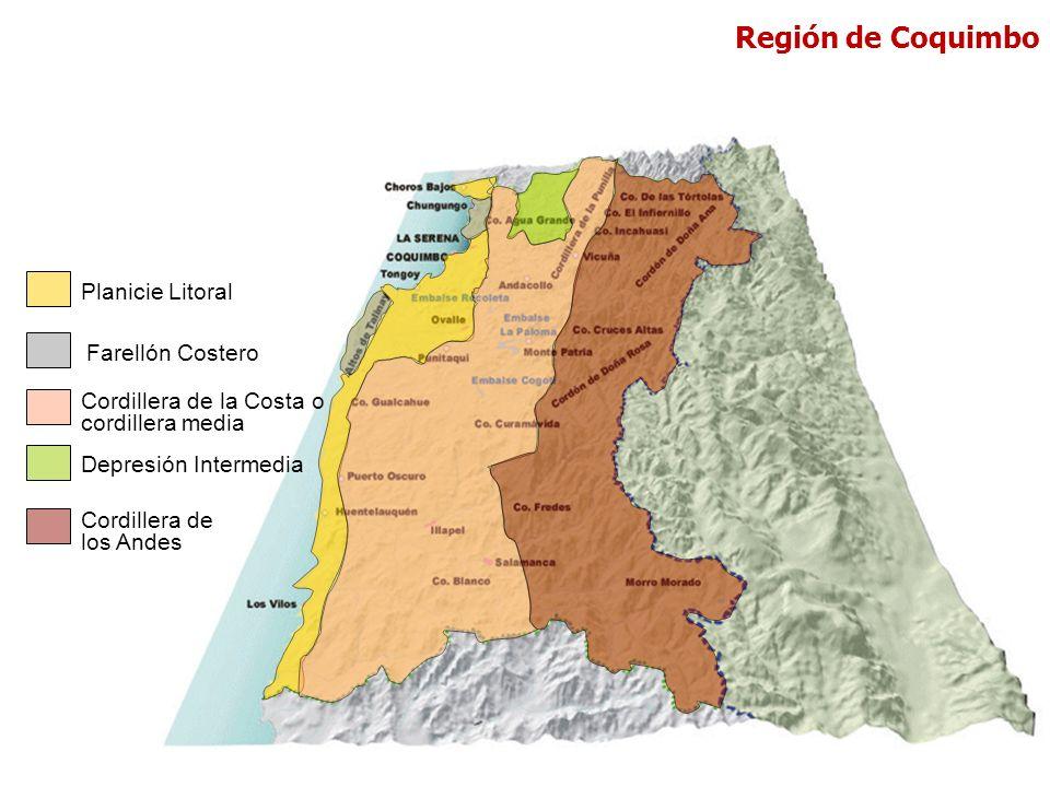Planicie Litoral Cordillera de la Costa o cordillera media Depresión Intermedia Cordillera de los Andes Farellón Costero Región de Coquimbo