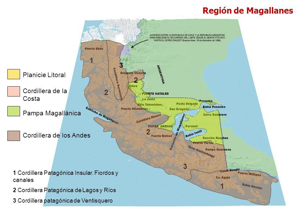 Planicie Litoral Cordillera de la Costa Pampa Magallánica Cordillera de los Andes 1 2 3 2 2 3 1 1 Cordillera Patagónica Insular. Fiordos y canales 2 C