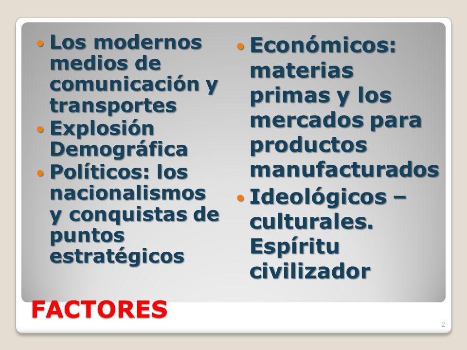 FACTORES Los modernos medios de comunicación y transportes Los modernos medios de comunicación y transportes Explosión Demográfica Explosión Demográfi