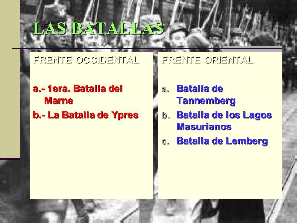 LAS BATALLAS FRENTE OCCIDENTAL a.- 1era. Batalla del Marne b.- La Batalla de Ypres FRENTE ORIENTAL a. Batalla de Tannemberg b. Batalla de los Lagos Ma