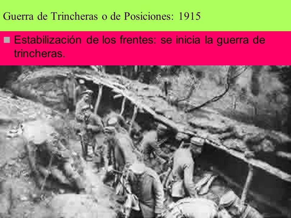 Guerra de Trincheras o de Posiciones: 1915 Estabilización de los frentes: se inicia la guerra de trincheras.