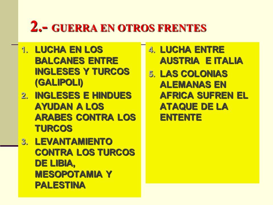 2.- GUERRA EN OTROS FRENTES 1. LUCHA EN LOS BALCANES ENTRE INGLESES Y TURCOS (GALIPOLI) 2. INGLESES E HINDUES AYUDAN A LOS ARABES CONTRA LOS TURCOS 3.