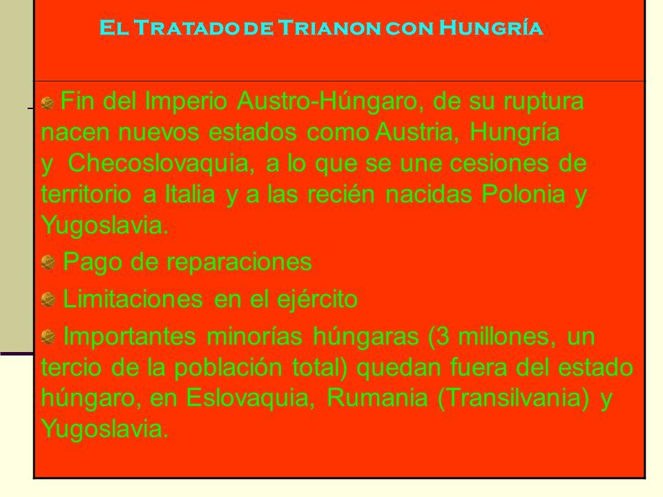 El Tratado de Trianon con Hungría Fin del Imperio Austro-Húngaro, de su ruptura nacen nuevos estados como Austria, Hungría y Checoslovaquia, a lo que