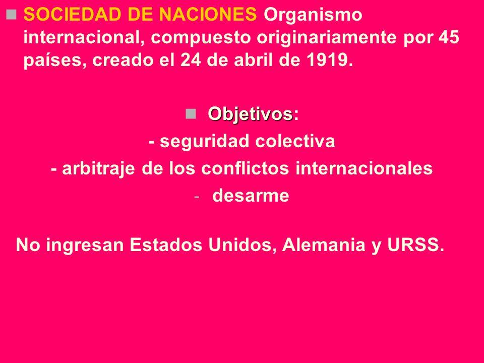 SOCIEDAD DE NACIONES Organismo internacional, compuesto originariamente por 45 países, creado el 24 de abril de 1919. Objetivos Objetivos: - seguridad
