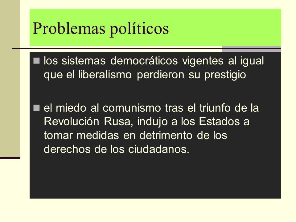 Problemas políticos los sistemas democráticos vigentes al igual que el liberalismo perdieron su prestigio el miedo al comunismo tras el triunfo de la