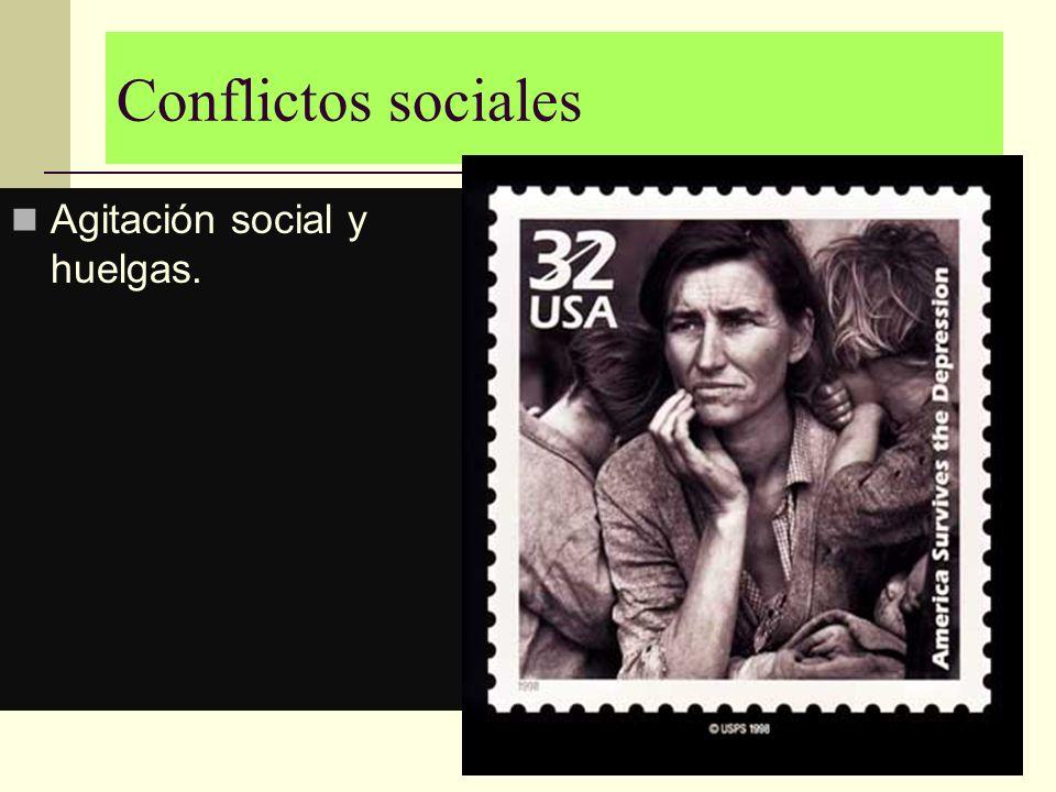 Conflictos sociales Agitación social y huelgas.