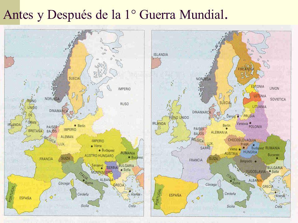 Antes y Después de la 1° Guerra Mundial.