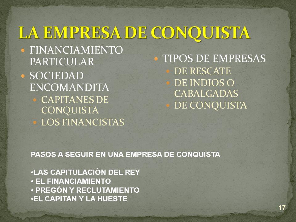 FINANCIAMIENTO PARTICULAR SOCIEDAD ENCOMANDITA CAPITANES DE CONQUISTA LOS FINANCISTAS TIPOS DE EMPRESAS DE RESCATE DE INDIOS O CABALGADAS DE CONQUISTA