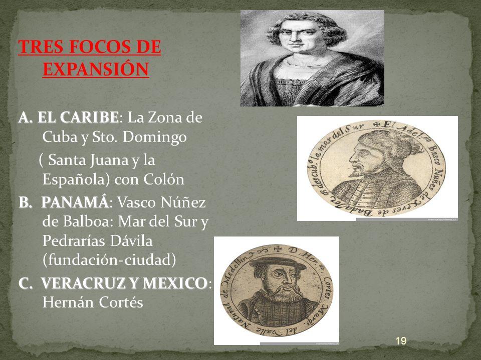 TRES FOCOS DE EXPANSIÓN A. EL CARIBE: La Zona de Cuba y Sto. Domingo ( Santa Juana y la Española) con Colón B. PANAMÁ: Vasco Núñez de Balboa: Mar del
