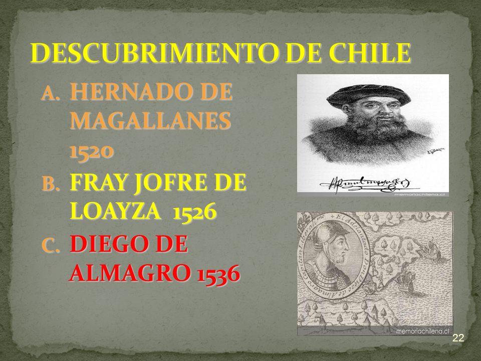 A. H ERNADO DE MAGALLANES 1520 B. F RAY JOFRE DE LOAYZA 1526 C. D IEGO DE ALMAGRO 1536 22