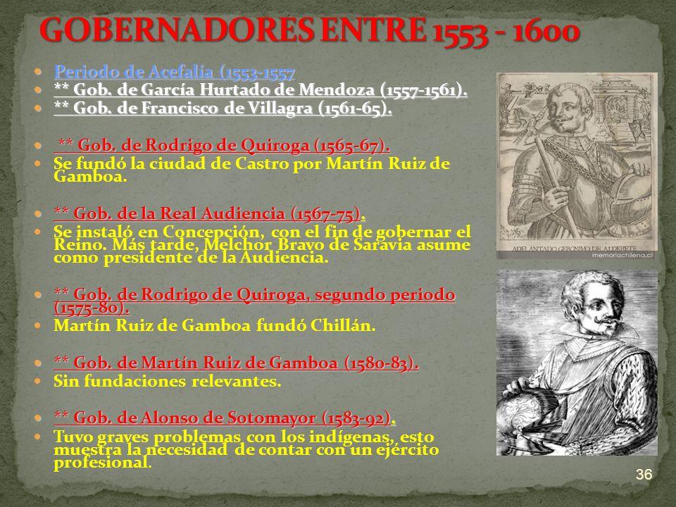 Periodo de Acefalía (1553-1557 Periodo de Acefalía (1553-1557 ** Gob. de García Hurtado de Mendoza (1557-1561). ** Gob. de García Hurtado de Mendoza (