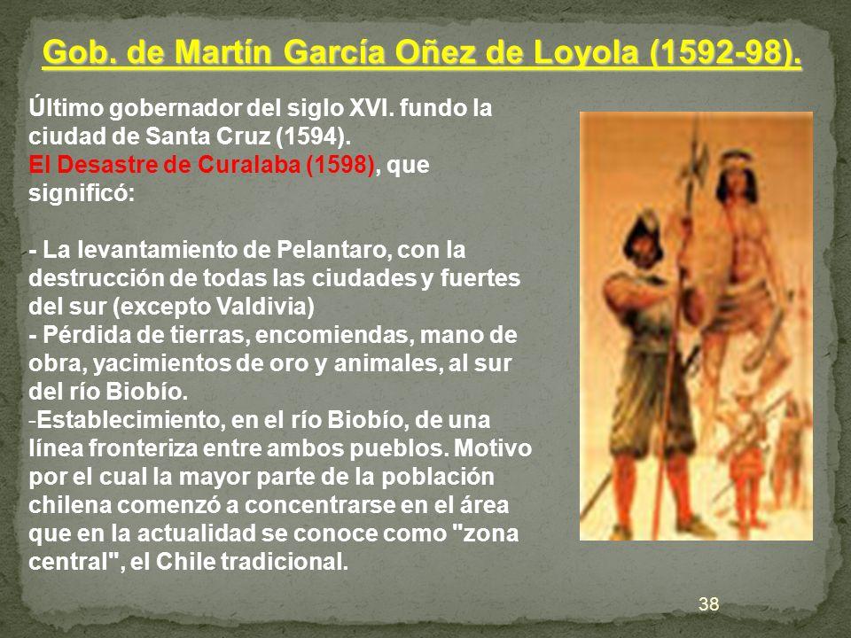 Último gobernador del siglo XVI. fundo la ciudad de Santa Cruz (1594). El Desastre de Curalaba (1598), que significó: - La levantamiento de Pelantaro,