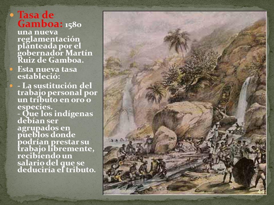 Tasa de Gamboa: 1580 una nueva reglamentación planteada por el gobernador Martín Ruiz de Gamboa. Esta nueva tasa estableció: - La sustitución del trab