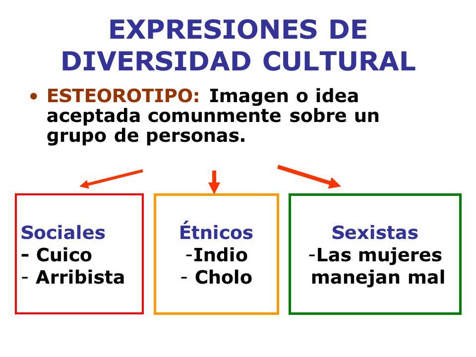 EXPRESIONES DE DIVERSIDAD CULTURAL ESTEOROTIPO: Imagen o idea aceptada comunmente sobre un grupo de personas. Sociales - Cuico - Arribista Étnicos -In