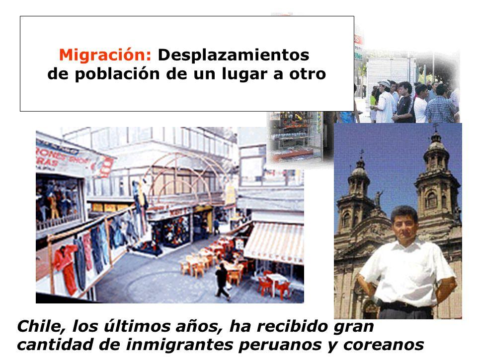 Chile, los últimos años, ha recibido gran cantidad de inmigrantes peruanos y coreanos Migración: Desplazamientos de población de un lugar a otro