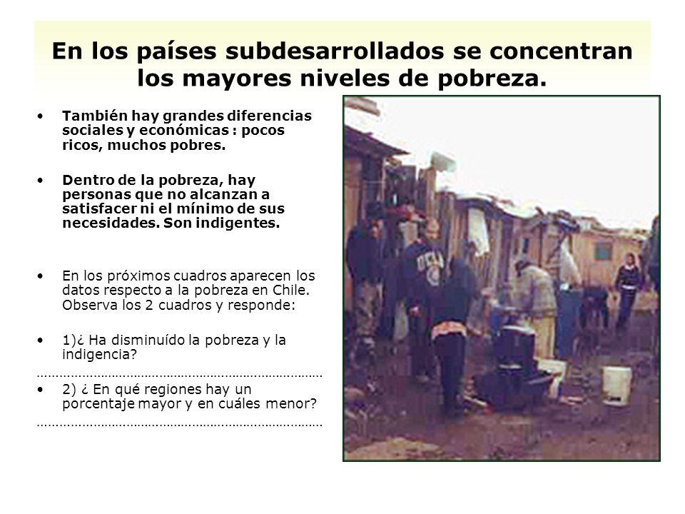 En los países subdesarrollados se concentran los mayores niveles de pobreza. También hay grandes diferencias sociales y económicas : pocos ricos, much