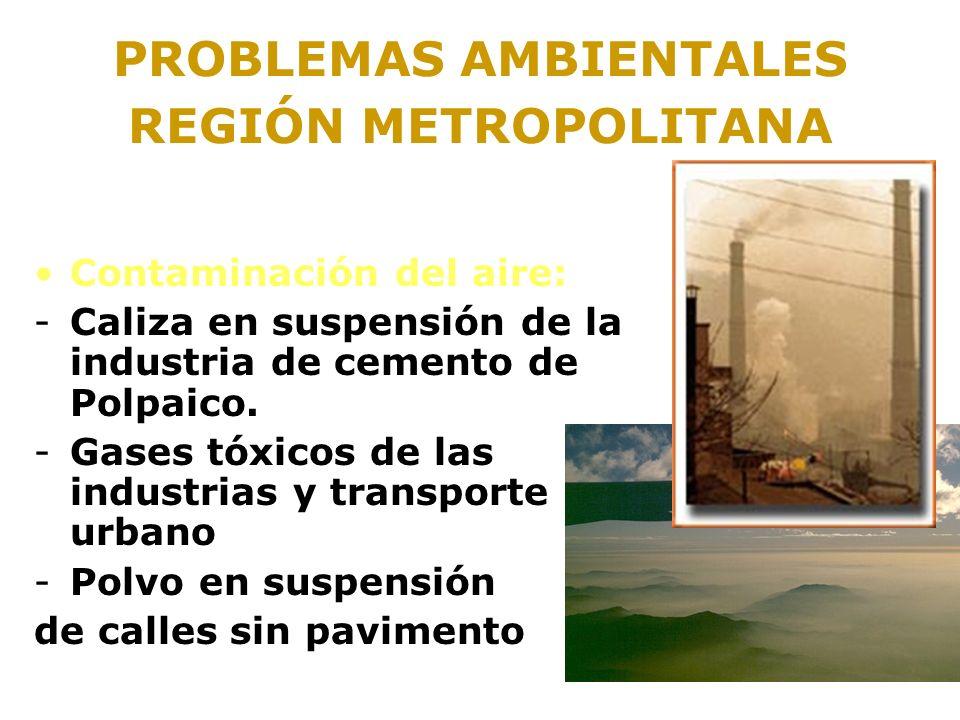 PROBLEMAS AMBIENTALES REGIÓN METROPOLITANA Contaminación del aire: -Caliza en suspensión de la industria de cemento de Polpaico. -Gases tóxicos de las