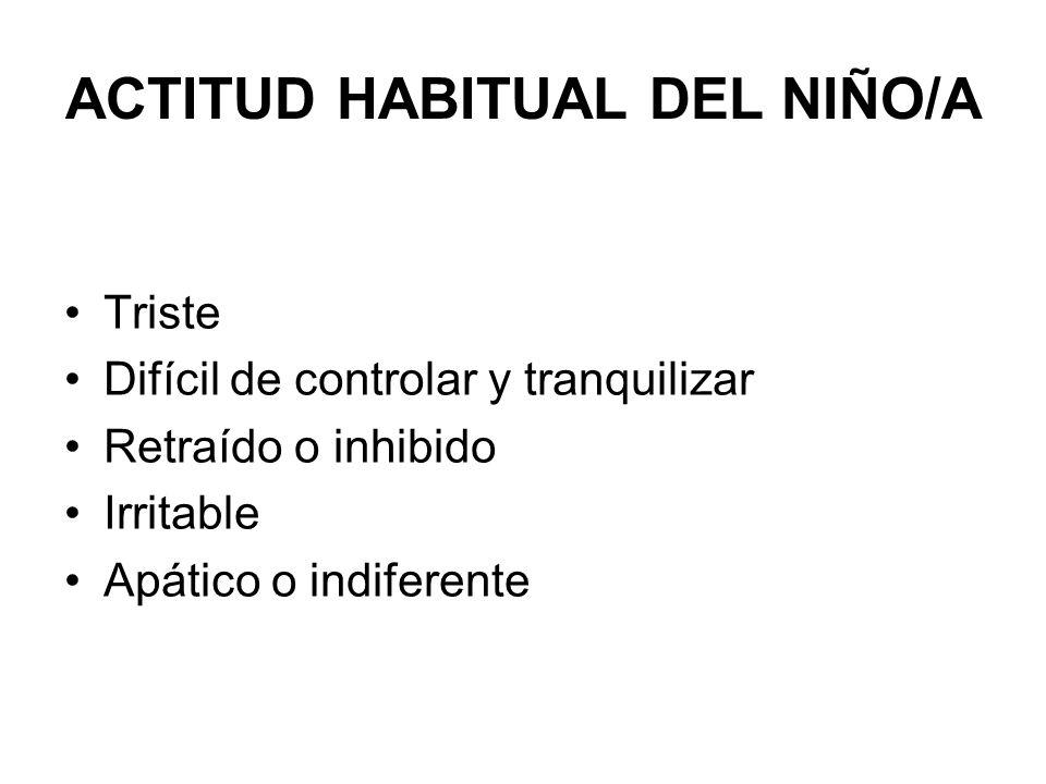 ACTITUD HABITUAL DEL NIÑO/A Triste Difícil de controlar y tranquilizar Retraído o inhibido Irritable Apático o indiferente