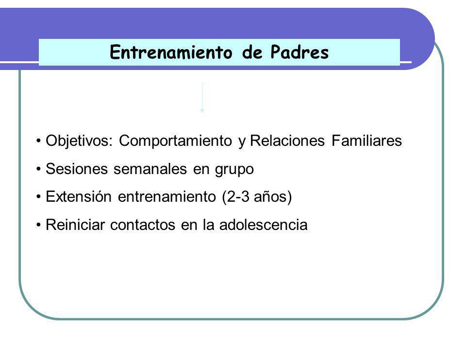 Enfoque conductual y evolutivo Objetivos: Aprendizaje académico, competencias sociales/conductuales, expectativas autoeficacia Tratamiento intensivo Extensión del Tratamiento (2/3 años) Prevención de recaídas Intervención en el niño afectado
