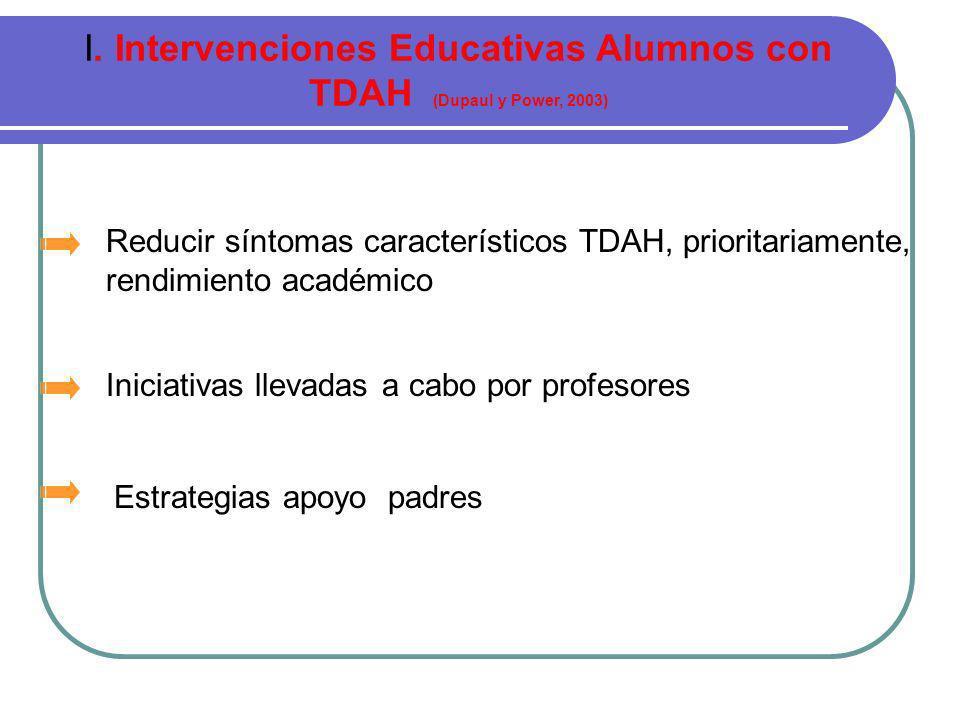 Intervenciones en Ámbito Escolar Alumnos TDAH I.Intervenciones Educativas.