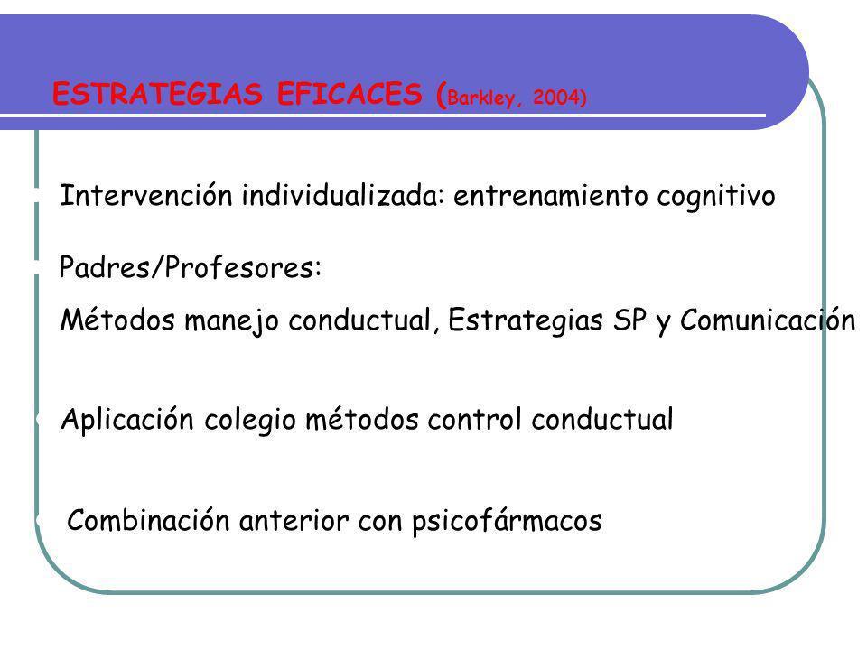 TECNICAS Y MÉTODOS DE INTERVENCIÓN (Barkley, 2004; Butnik, 2005) Técnicas Conductuales Técnicas Cognitivas Neurofeedback