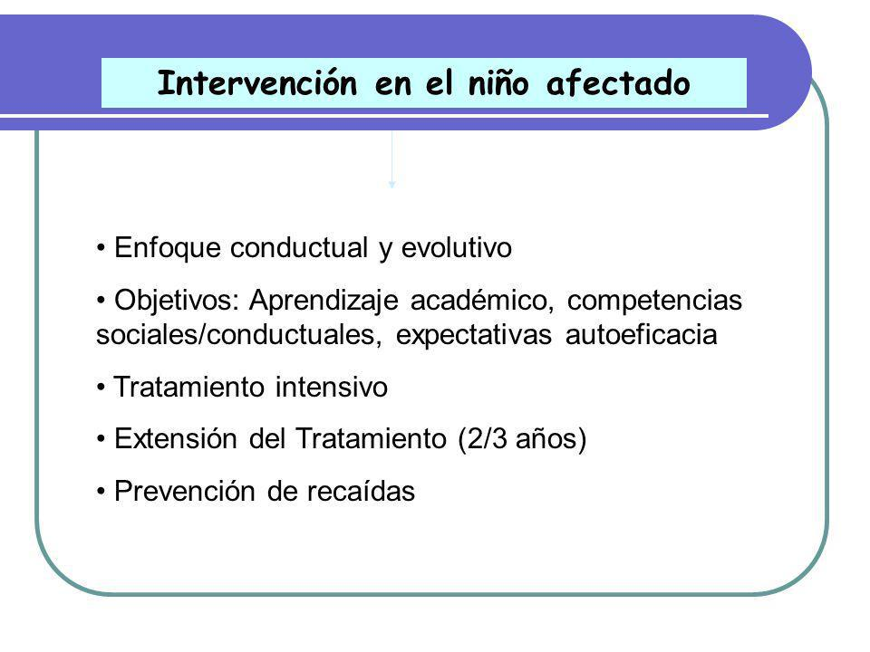 Tratamiento Conductual-Cognitivo (Pelham y Gnagy, 1999) Intervención niño afectado Entrenamiento de padres Intervención escolar