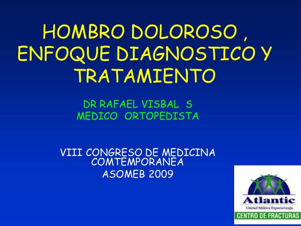 HOMBRO DOLOROSO, ENFOQUE DIAGNOSTICO Y TRATAMIENTO DR RAFAEL VISBAL S MEDICO ORTOPEDISTA VIII CONGRESO DE MEDICINA COMTEMPORANEA ASOMEB 2009
