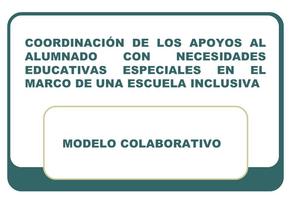 COORDINACIÓN DE LOS APOYOS AL ALUMNADO CON NECESIDADES EDUCATIVAS ESPECIALES EN EL MARCO DE UNA ESCUELA INCLUSIVA MODELO COLABORATIVO