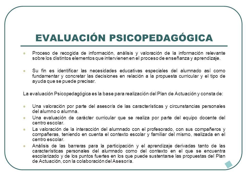 EVALUACIÓN PSICOPEDAGÓGICA Proceso de recogida de información, análisis y valoración de la información relevante sobre los distintos elementos que int