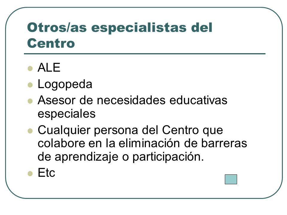 Otros/as especialistas del Centro ALE Logopeda Asesor de necesidades educativas especiales Cualquier persona del Centro que colabore en la eliminación