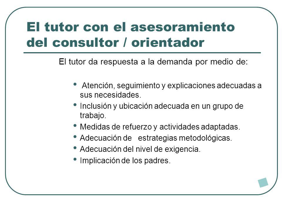 El tutor con el asesoramiento del consultor / orientador El tutor da respuesta a la demanda por medio de: Atención, seguimiento y explicaciones adecua