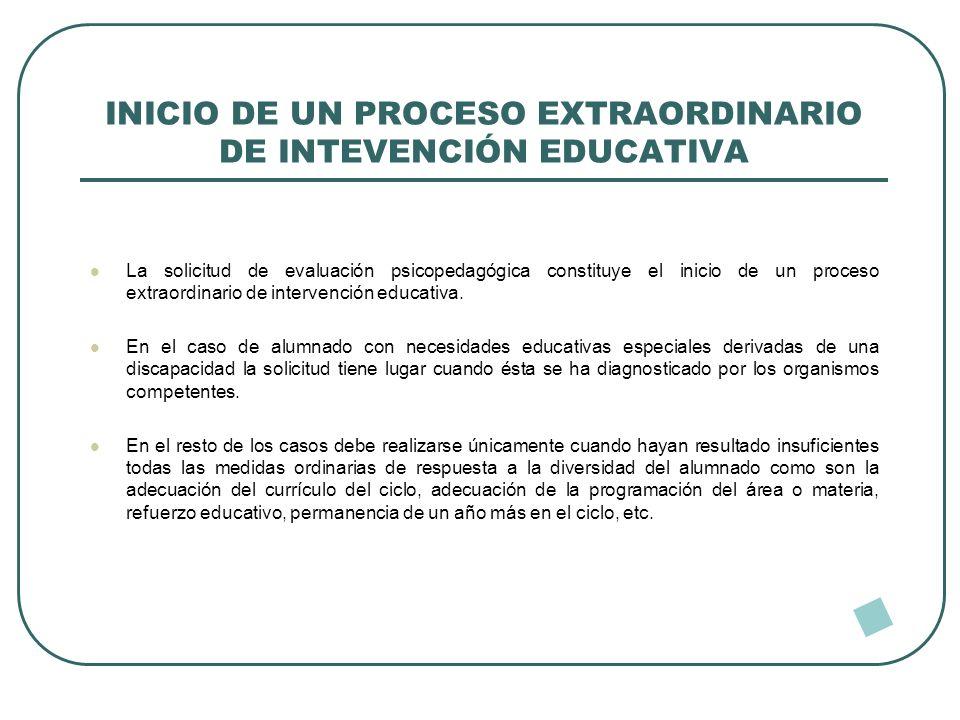 INICIO DE UN PROCESO EXTRAORDINARIO DE INTEVENCIÓN EDUCATIVA La solicitud de evaluación psicopedagógica constituye el inicio de un proceso extraordina