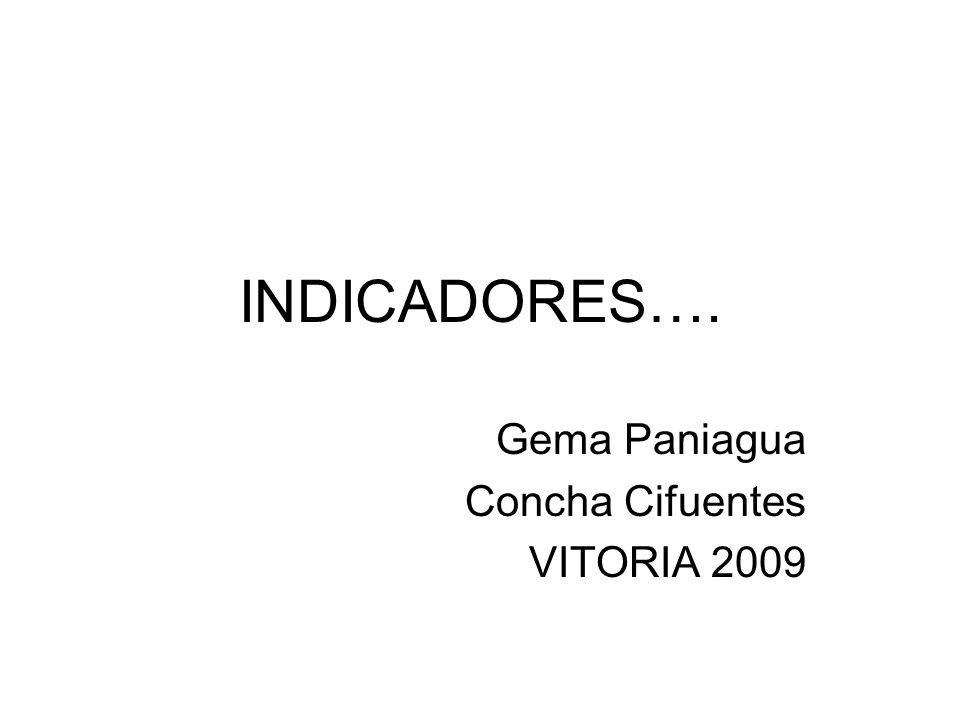 INDICADORES…. Gema Paniagua Concha Cifuentes VITORIA 2009