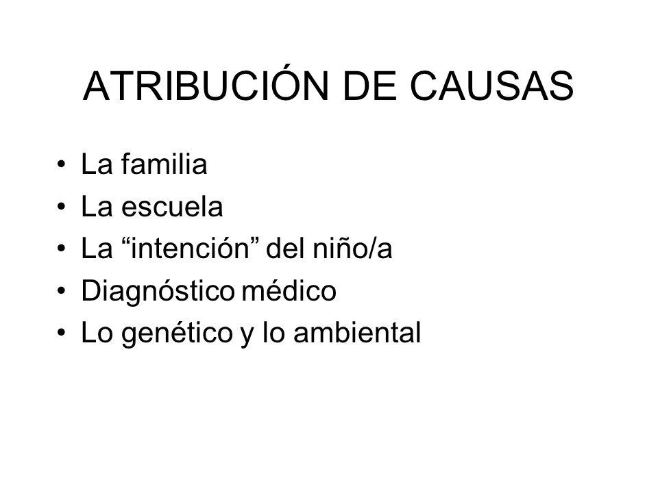 ATRIBUCIÓN DE CAUSAS La familia La escuela La intención del niño/a Diagnóstico médico Lo genético y lo ambiental
