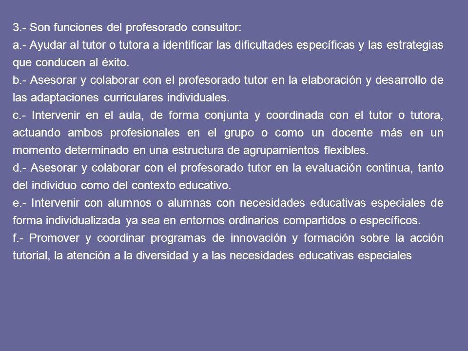 3.- Son funciones del profesorado consultor: a.- Ayudar al tutor o tutora a identificar las dificultades específicas y las estrategias que conducen al éxito.