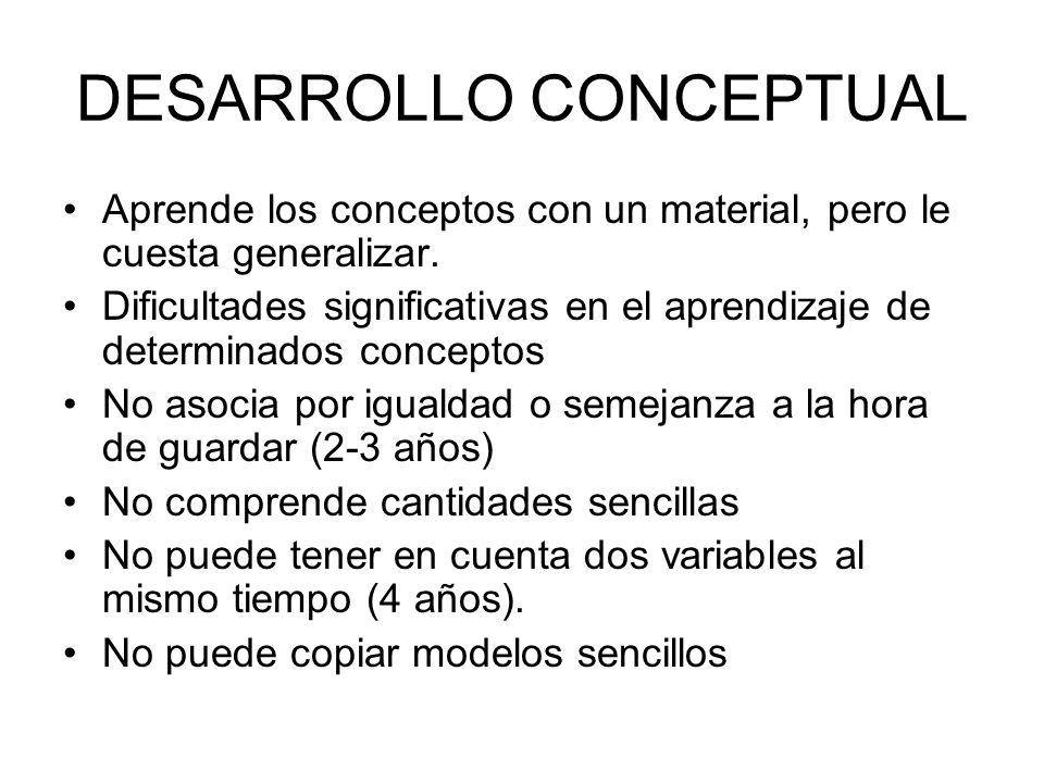 DESARROLLO CONCEPTUAL Aprende los conceptos con un material, pero le cuesta generalizar. Dificultades significativas en el aprendizaje de determinados