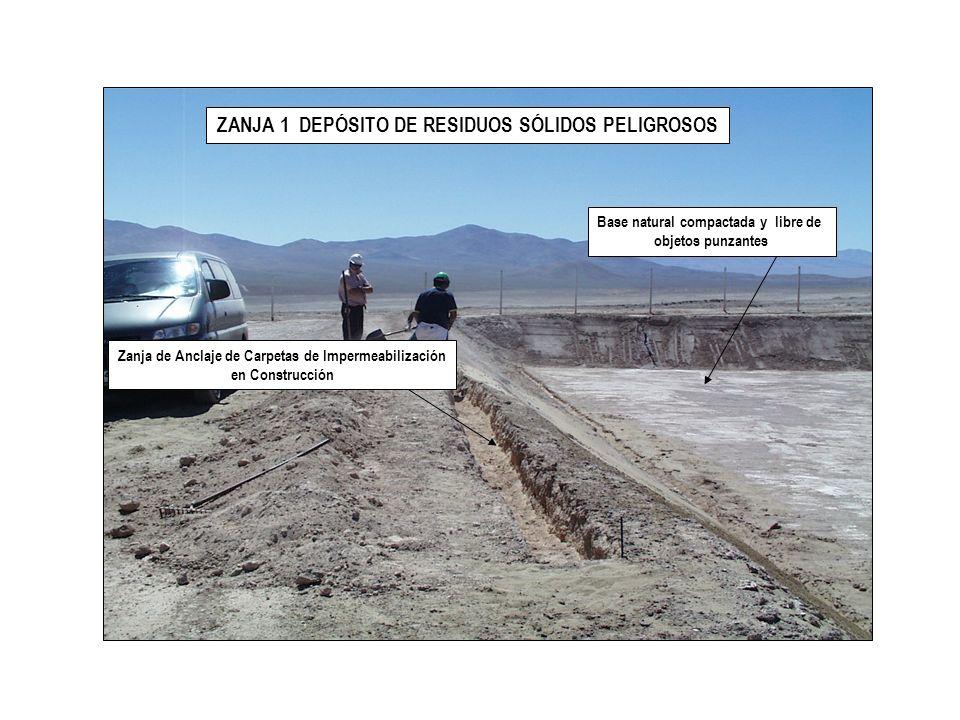 ZANJA 1 DEPÓSITO DE RESIDUOS SÓLIDOS PELIGROSOS GEONET Carpeta HDPE Primaria