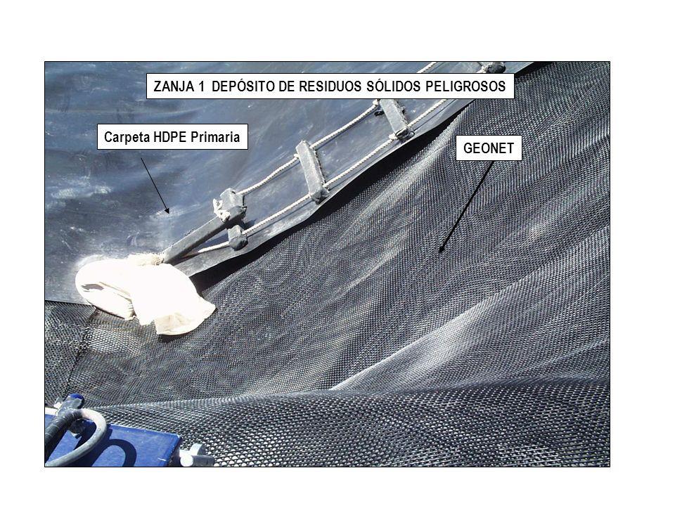 ZANJA P1 DEPÓSITO DE RESIDUOS SÓLIDOS PELIGROSOS Geotextil ya instalado