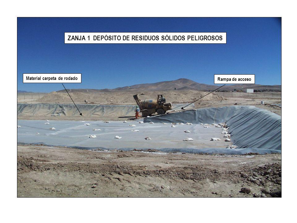 VISTA GENERAL ZANJA P1 Material para futura cobertura de los residuos peligrosos Zona de tránsito peatonal entre zanjas Zanja P1 Zanja 1