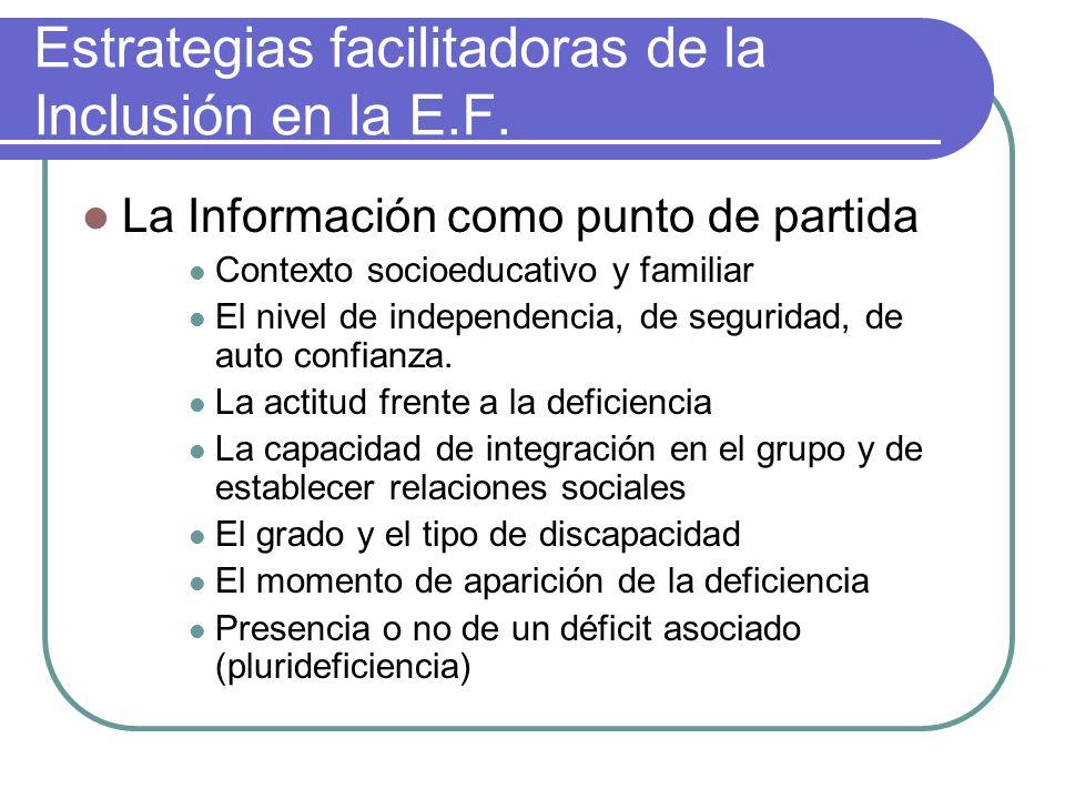 Estrategias facilitadoras de la Inclusión en la E.F. La Información como punto de partida Contexto socioeducativo y familiar El nivel de independencia