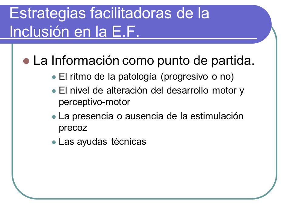 Estrategias facilitadoras de la Inclusión en la E.F. La Información como punto de partida. El ritmo de la patología (progresivo o no) El nivel de alte