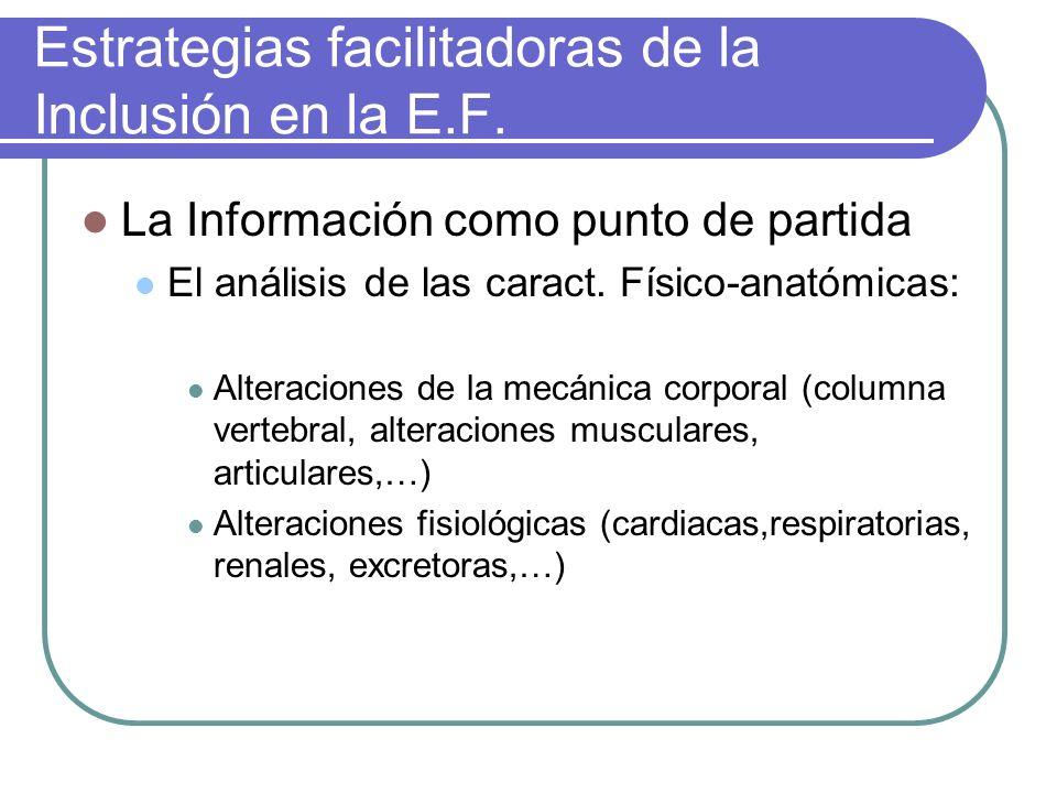 Estrategias facilitadoras de la Inclusión en la E.F. La Información como punto de partida El análisis de las caract. Físico-anatómicas: Alteraciones d