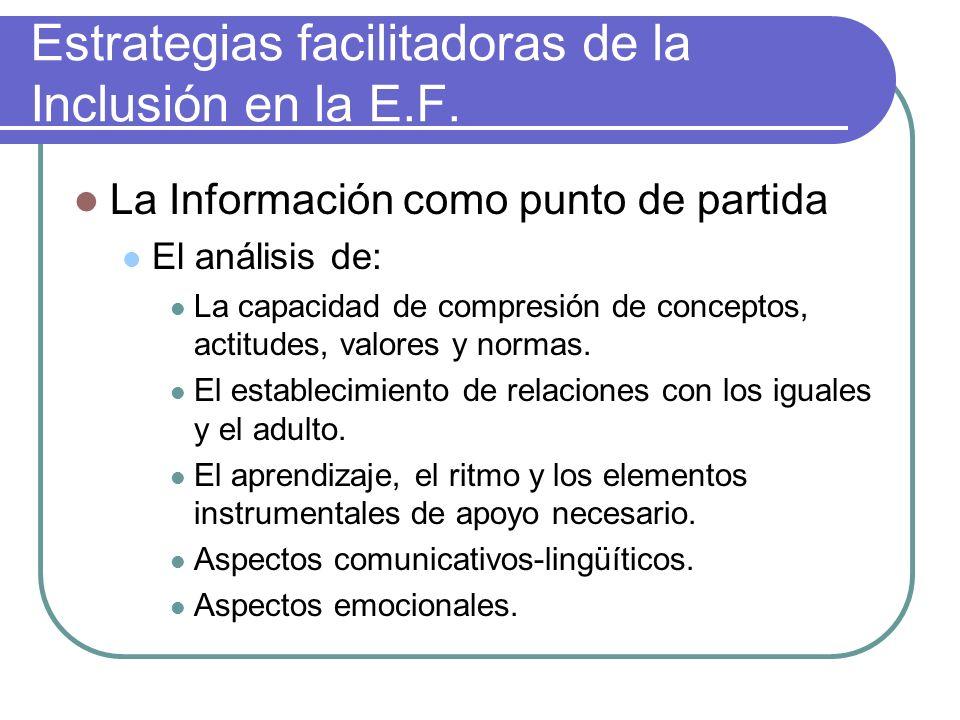 Estrategias facilitadoras de la Inclusión en la E.F. La Información como punto de partida El análisis de: La capacidad de compresión de conceptos, act
