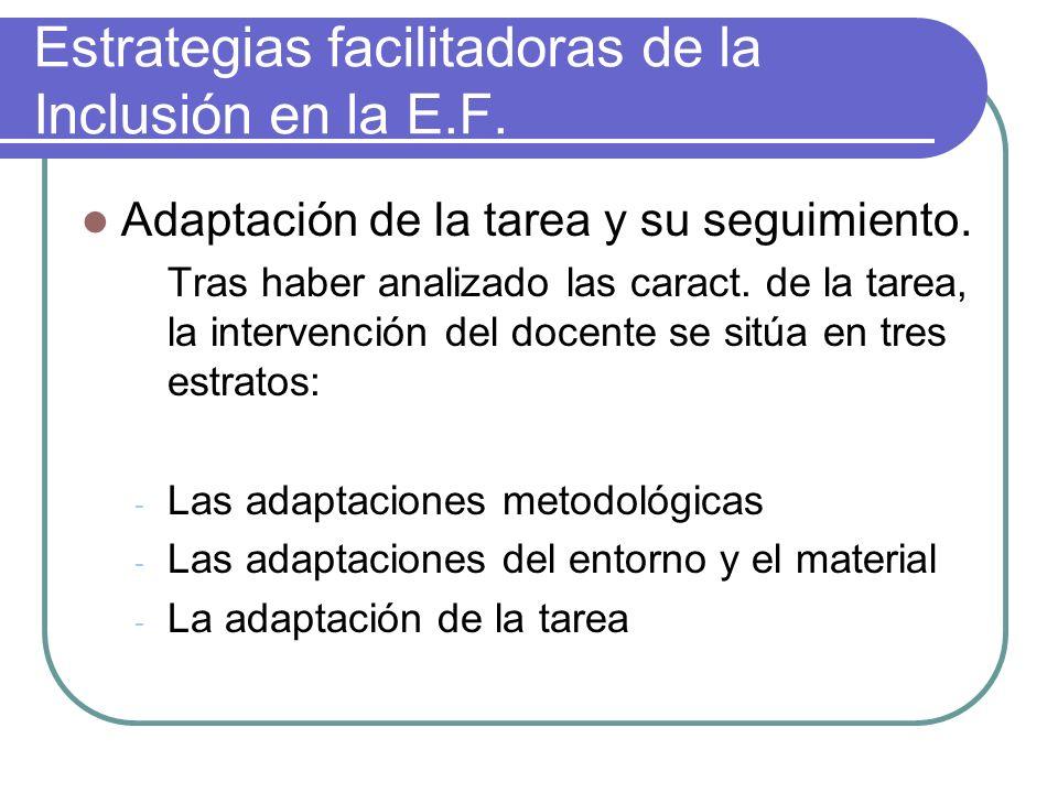 Estrategias facilitadoras de la Inclusión en la E.F. Adaptación de la tarea y su seguimiento. Tras haber analizado las caract. de la tarea, la interve